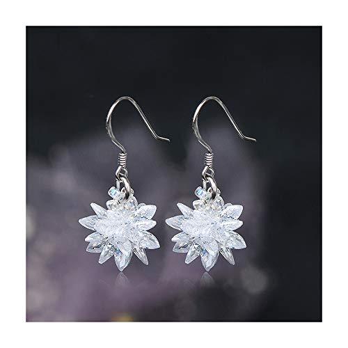 Kronleuchter Pendientes de Cristal de Plata Star Flower S925 Simple