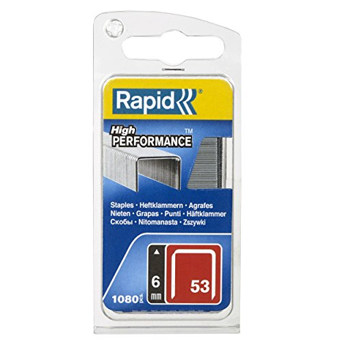 Rapid 40109502 40109502-Grapa 53 6mm. G 1.08M Blíster, Plateado, 6mm, Set de 1080 Piezas
