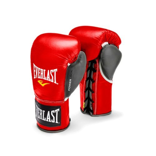 Everlast PowerLock Pro Fight Gloves 10oz Red/Gry PowerLock Pro Fight Gloves
