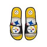 FOCO NFL Pittsburgh Steelers Mens Sport Shower Gel Slide Flip Flop Sandals, Colorblock Big Logo, Medium (9-10) (FFSSNFCBBLGGEL)