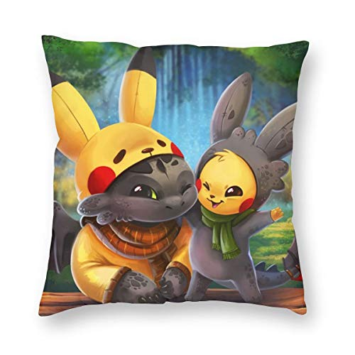 VIMMUCIR Tooth-Less Pi-ka-chu Decorative Square Throw Pillow Covers Home Decor Cushion Case for Sofa Bedroom Car 18x18 Inch