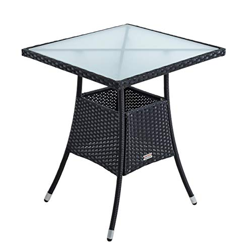 ESTEXO Polyrattan Gartentisch Beistelltisch Rattan Tisch Balkontisch Gartenmöbel Terrassentisch 60x60 cm (Schwarz)