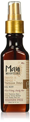 Maui Moisture Smooth & Repair + Vanilla Bean Oil Mist, 4.2 Ounce, Softening Silicone Free Oil Mist to Help Smooth and Soften Even Unruly, Style-Stubborn Locks