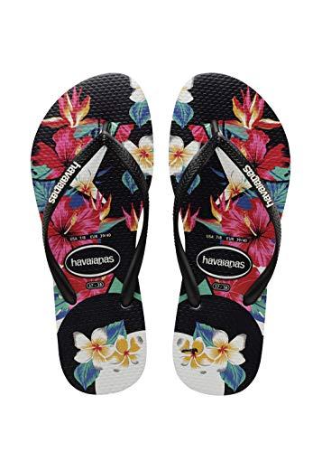 Havaianas Women's Slim Tropical Floral Flip Flop Sandal, Black, 5/6 M US