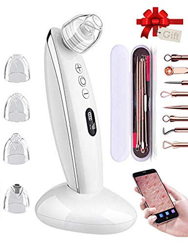 Blackhead Remover Vacuum, REMALL Blackhead Remover with Camera 5MP Visual Removal with 6 Modes &4 Replaceable Probes Built-in Camera & WiFi Real-time Skin Screen, Rechargeable Blackhead Suction Tool