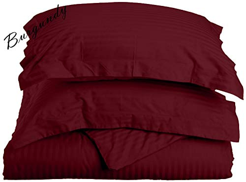 1000 Thread Count Three (3) Piece California King Size Burgundy Stripe Duvet Cover Set, 100% Egyptian Cotton, Premium Hotel Quality