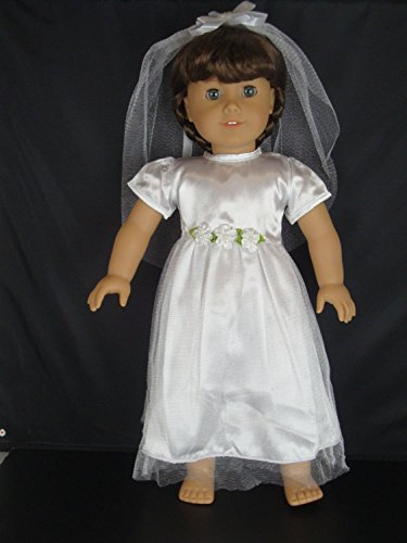 White Confirmation Dress or Wedding Gown with a Veil Designed for 18 Inch Doll Like The American Girl Dolls