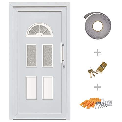 UnfadeMemory Haustür Eingangstür Weiß Wohnungstür Eingangstür PVC-Türrahmen + Sandwichkernfüllung Edelstahl-Ziehgriff Sicherheit für Ihr Zuhause (88 x 190 cm, Rechts nach innen öffnend)