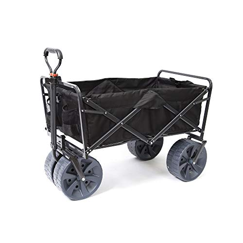Mac Sports Heavy Duty Collapsible Folding All Terrain Utility Wagon Beach Cart (Black)