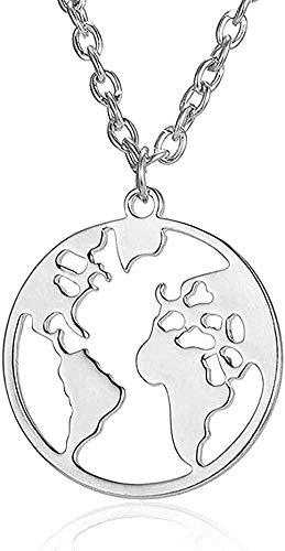 NONGYEYH co.,ltd Collar, Collar, joyería de Viaje para Mujer, Collar de Mapa del Mundo, Colgante Redondo de Tierra Hueca, Accesorios