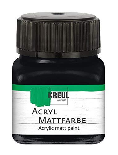 Kreul 75220 - Acryl Mattfarbe, schwarz im 20 ml Glas, cremig deckende, schnelltrocknende Farbe auf Wasserbasis, für viele verschiedene Untergründe geeignet