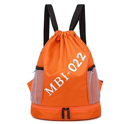Bolsa De Natación,Seco Mojado Separado Mochila con Cordón Impermeable Ligero Bolsa De Deporte con Bolsillos De Malla De Botella De Agua para Nadar-naranja-30×16×39cm(11.8×6.3×15.4in)