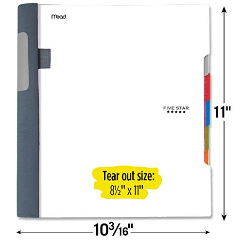 Five Star Advance Spiral Notebook, 5 Subject, College Ruled Paper, 200 Sheets, 11 x 8-1/2 inches, White (73154) Photo #5