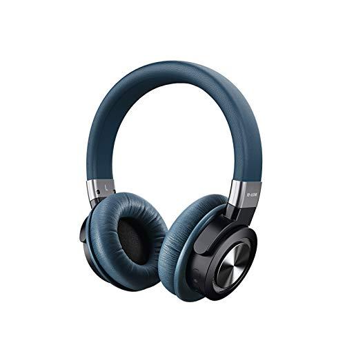 ヘッドマウントBluetoothヘッドセット、ワイヤレスステレオ重低音の音楽ANCノイズキャンセリングヘッドセットマイクロSD/TF、携帯電話用のFM、PC blue