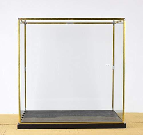 EMH Hand gemaakt groot glas en messing metalen frame Display vitrine doos met zwart houten voet 46 cm lang