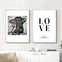 象の壁アートキャンバスプリント動物ミニマリストポスター引用北欧絵画装飾写真モダンなリビングルームの装飾  40x60cmx2Pcs /フレームなし