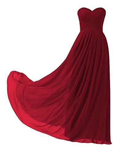 HUINI Abendkleider Lang Chiffon Hochzeit Brautmutterkleider Groß Größen Ballkleider A-Linie Trägerlos Damen Hochzeitskleider Burgund