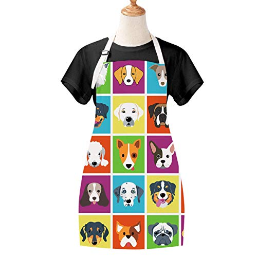 Cute Women Apron for Baking, Waterproof Dog Apron with Adjustable Neck Strap, Durable Kitchen Apron for Women, Girls, Dog Pet Apron for Cooking, BBQ, Kitchen, Cleaning, 27.6 x 31.5 inch