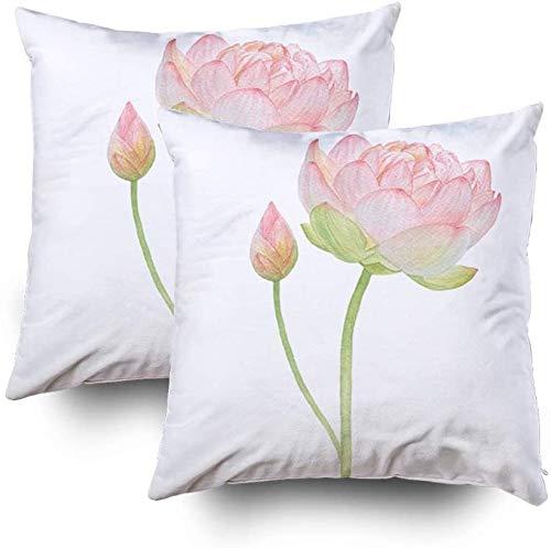 My Pillow - Juego de 2 fundas de almohada para sofá, diseño de loto rosa y un pequeño capullo de loto de 45 x 45 cm, 2 fundas de almohada para decoración del hogar