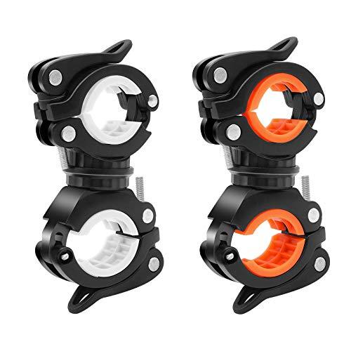 Fahrradbrenner klemme, 2 Stück 360 Grad drehbare Fahrradlichtklemme Multifunktionale Fahrradbrenners und Pumpenhalterung Fahrrad-LED-Lampenständer Taschenlampenklemmenhalterung Zubehör