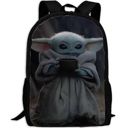 Baby Alien Knapsack Backpack Cute Green Jedi Master Cosplay Bookbag Travel Schoolbag Waterproof for Boys Kids