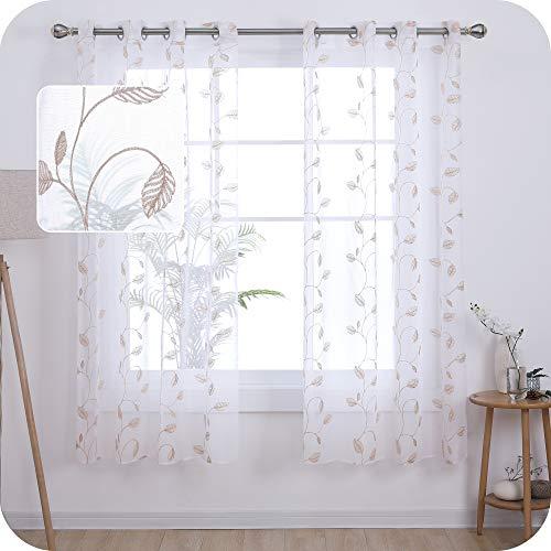 Amazon Brand - Umi Cortinas Salon Translucidas de Dibujos Hojas con Ollaos 2 Piezas 140x180cm Lino