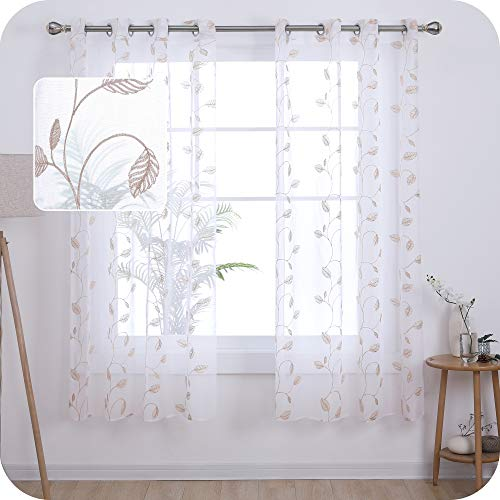 UMI. by Amazon 2 Stück Voile Gardinen Halbtransparent Voile Vorhang mit Ösen Fenster Vorhänge für Wohnzimmer 175x140 cm Leinen