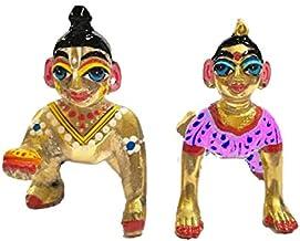 VRINDAVANBAZAAR.COM Hand Painted Pink Baby Radha Rani with Laddu Gopal; Size 1 (Height 1.5 inch)