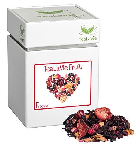 TEALAVIE - Hausmischung Früchtetee lose | TeaLaVie Fruit - saftige Walderdbeere mit Rhabarber | 100g Dose loser Früchte Tee