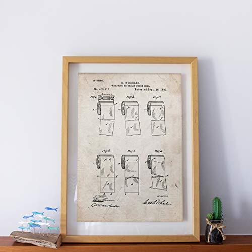 Nacnic Poster mit Patent Toilettenpapier 2. Print Design-Patent Papier mit der Größe A3 altem und Vintage-Hintergrund