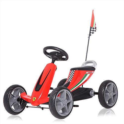 Ferrari Kinder Go Kart Kettcar Tretauto Kinderfahrzeug Tretfahrzeug Gokart Kinderauto offiziell lizenziert Renncart mit Eva Reifen ab 3 Jahren in Rot