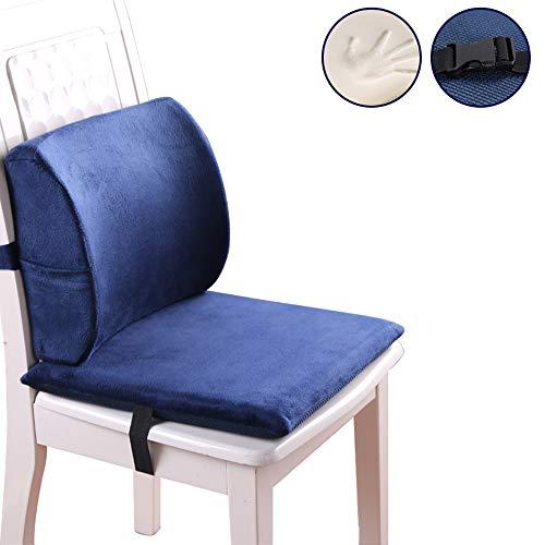 SEGIBUY Memory Foam Seat Cushion en Lumbar ondersteuning rugkussen, voor Coccyx en Sciatica pijnverlichting. Stoelverhoger voor auto- en bureaustoelen