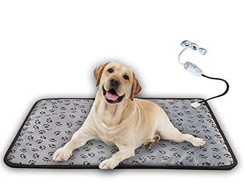 XXL Dog Heating Pad for Large Dog Bed Indoor,Waterproof Heated Dog Bed Mat,Pet Heating Dog Bed Pad,Cat Warming Mat,Dog Bed Warming Mat,for Small Medium Pet Cat Puppy Dog Blanket,King Size (grey, claw)