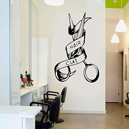 Peluquería, peluquería, letrero, pegatina de pared, barbería, herramienta de corte de pelo, logotipo, tijeras, calcomanías de pared, decoración extraíble, murales A6 42x66cm