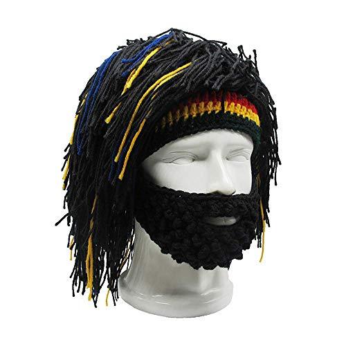 Omenluck 1 PC Beanie Divertido Sombreros Hombres Tejer Barba Sombreros Reggae Cabello Estilo