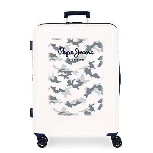 Pepe Jeans Joe Maleta Mediana Beige 48x70x26 cms Rígida ABS Cierre TSA Integrado 81L 2,5 kgs 4 Ruedas Dobles