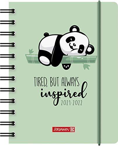 """BRUNNEN 1071755032 Schülerkalender 2021/2022 """"Panda"""" 1 Seite = 1 Tag, Sa. + So. auf einer Seite, Blattgröße 12 x 16 cm, A6, PP-Einband"""