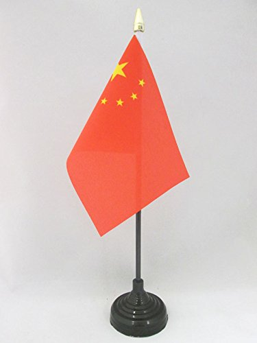 AZ FLAG TISCHFLAGGE China 15x10cm goldene splitze - CHINESISCHE TISCHFAHNE 10 x 15 cm - flaggen