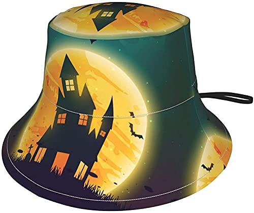 KEROTA Sombrero de sol para mujer, diseño de casa en Halloween y noche con impresión de verano, para viajes, playa, para hombre, casa espeluznante, para Halloween, noche, pequeño,, 1 color, 8-12 Años