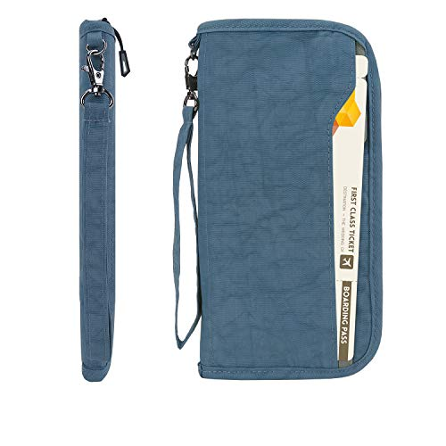 Zoppen RFID Travel Passport Wallet & Documents Organizer Zipper Case with Removable Wristlet Strap, Blue