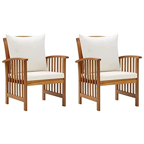 vidaXL 2X Akazienholz Massiv Gartenstuhl mit Kissen Gartensessel Stuhl Sessel Gartenmöbel Holzstuhl Stühle Balkonstuhl Terrassenstuhl Gartenstühle