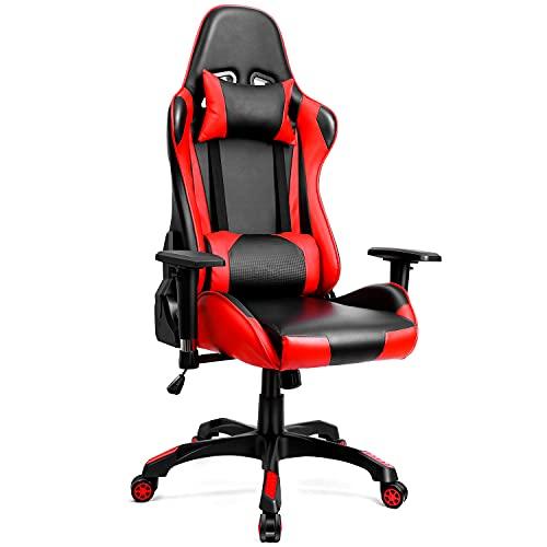 Gaming Stuhl Bürostuhl Gamer Stuhl Ergonomischer Schreibtischstuhl Gaming Chair Gaming Sessel Computerstuhl PC Stuhl, Einstellbare Armlehne 160° Neigungswinkel, Schwarz-Rot