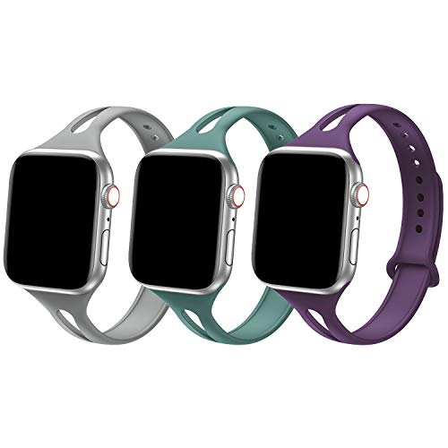 Bandiction Sport Band Compatible with Apple Watch 38mm 40mm 42mm 44mm, Soft Silicone Sport Strap Replacement Narrow Bands (3 Pack-Stone/Pin Green/Modena, 42mm/44mm - S/M: 6.2' - 7.9')