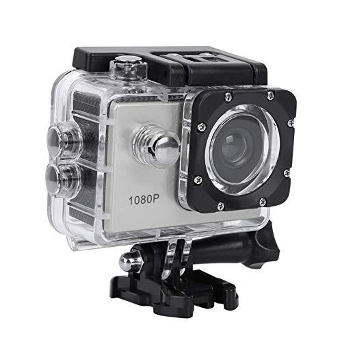 Mavis Laven Cámara de acción Deportiva 1080P HD Pantalla LCD de 2 Pulgadas Deportes 30 m Cámara Ultra HD Resistente al Agua con batería(Plata)