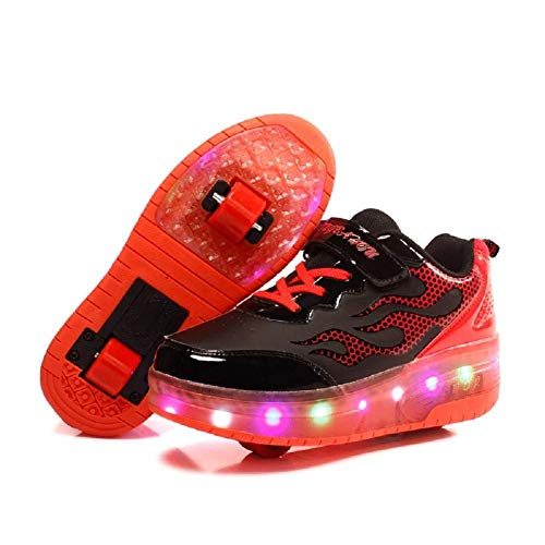 Sunflower Inline Skates Skateboardschuhe LED Leuchten Radschuhe Unisex Kinder Rollschuhschuhe LED Leuchten Schuhe Kinder Jungen Und Mädchen Inline Rollschuhe,Red-30