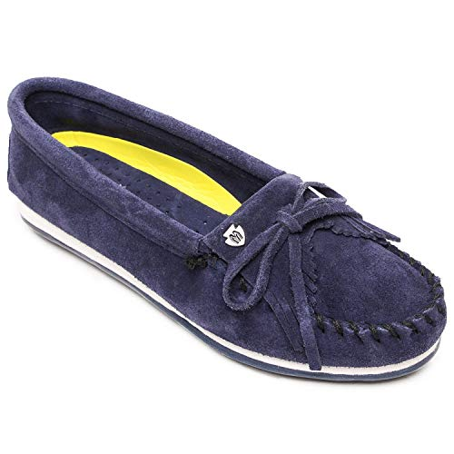 Minnetonka Women's Kilty Plus Suede Moccasins with Water Resistant Treatment 8 M Navy