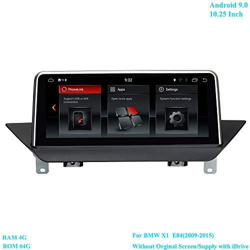 XISEDO 10,25 inch scherm Android 9.0 autoradio RAM 4G ROM 64G Moniceiver met GPS Navi Android radio voor BMW X1 E84 (2009-2015) zonder origineel beeldscherm/voorzien van iDrive