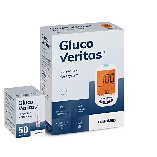 Gluco Veritas Blutzucker-Messgerät Starterset (mg/dL) inklusive 50 Teststreifen