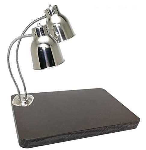 CXWJD Tafellamp voor levensmiddelen, warm, roestvrij stalen lamp, eenvoudig/dubbele kop voor levensmiddelen, warming, buffet, weergave drogen, verwarming snack licht