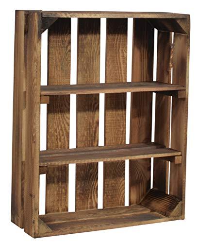 CHICCIE Geflammte Holzkiste Schmalhanz - Mit Zwei kurzen Regalen Gewürzregal Bücherregal Weinregal 50 x 40 x 15cm
